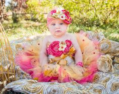 Gold Coral Layered Full Tutu Crochet Top by MalishkaBoutique