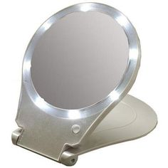 Floxite FL-10LFM 10x Magnification Lighted Folding Home and Travel Make Up Mirror (Silver) -- You can get more details by clicking on the image.