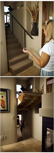 Secret Room behind staircase - great for a safe room...safe from the kids that is