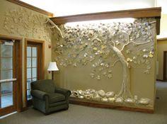 Plaster Art, Plaster Walls, Mural Wall Art, Tree Wall Art, Wall Design, House Design, Donor Wall, Tadelakt, Wall Sculptures
