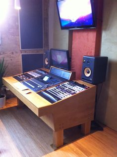 A custom handcrafted recording studio workstation for a Yamaha 02R96 digital audio board. www.mgeardesign.ca