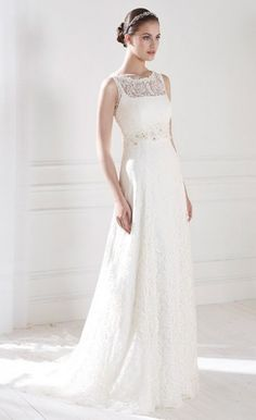 CHLOE - Sheath Empier waist Chapel train Lace High round/Slash neck Wedding dress