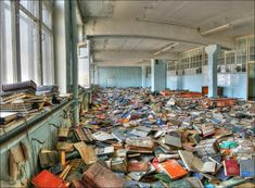 This is Pripyat, just outside of Chernobyl. This is in the library of a school. Pripyat was completely abandoned after the Chernobyl nuclear accident in These books are radioactive, not abandoned Old Buildings, Abandoned Buildings, Abandoned Places, Abandoned Detroit, Abandoned Mansions, Abandoned Library, Abandoned Hospital, Urban Exploration, Places Around The World