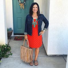 Orange dress, denim jean jacket, spring summer style, teacher outfit, fringe purse via /kari/.montgomery