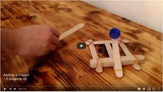 Create catapult out of popsicle sticks, from simple to complex Popsicle Stick Catapult, Popsicle Sticks, Popsicles, Create, Simple, Diy, Pallets, Ice Cream Sticks, Bricolage
