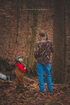 child, hunting, country, woods, bibs, father, son