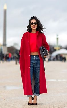 Red coat, jeans, crop sweater