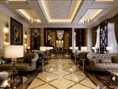 56 Luxury and Elegant Living Room Design Ideas That You must Try in Your Home Living Room Small, Art Deco Living Room, Classic Living Room, Classic Interior, Luxury Interior, Interior Design Living Room, Living Room Designs, Design Room, Interior Office