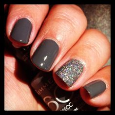 dark grey and sparkles. yes, I am into the party nail right now.
