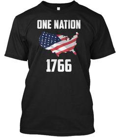 One Nation 1766 Black T-Shirt Front Usa Shirt, First Nations, Shirts, Black, Tops, Fashion, Moda, Black People, Fashion Styles