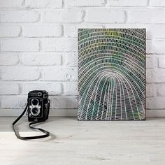 abstract painting on canvas - woven basket study - patterned art, original art, australian art, contemporary art, black green art, small art