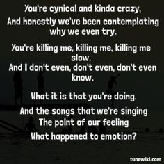 """-- #LyricArt for """"What Happened To Emotion? (Killing Me)"""" by Forever The Sickest Kids"""