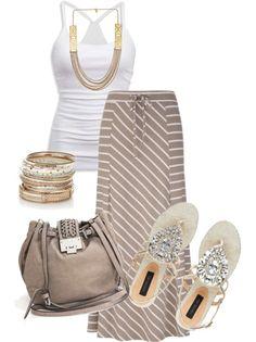 Striped Knit Maxi Skirt & Tank