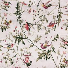 Impeccable cream botanical upholstery fabric by Cole