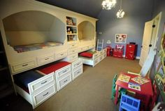 Kids room with built-in bunk beds and a Pottery Barn kitchen.