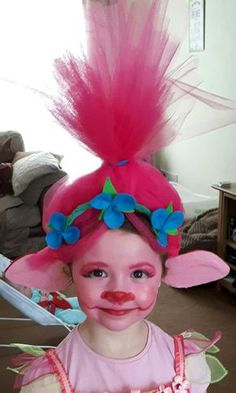 DIY Princess Poppy headband and face paint. The ears make all the difference!