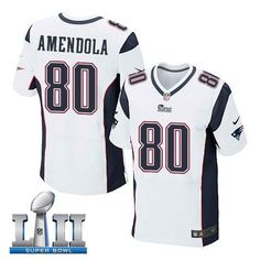 4569f6de1 Men s Nike New England Patriots  80 Danny Amendola Stitched White 2018 Super  Bowl LII Elite Jersey. Matthew SlaterNfl ...