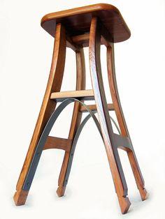 Eiffel barstool, recycled oak wine barrel staves  hoops