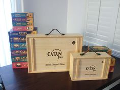 Heirloom-quality Catan gaming gear, organized inside an artisan bamboo collector's box featuring English dovetails and hand-oiled leather handles. Note: Catan games sold separately.