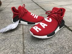 Dégagement Homme 2017 Pharrell Williams X Adidas Nmd Course Humaine Boost  Rouge - Chaussures Blanc- 889faea82906
