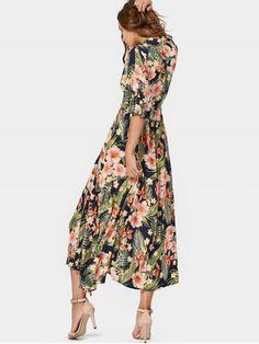 Button Up Slit Tropical Maxi Dress - FLORAL S