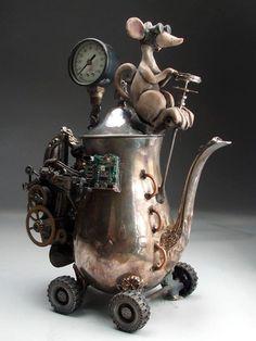 this is just too stinking cute. Steampunk Teapot Hybrid Car Folk Art Pottery Raku by Face Jug Maker Grafton Steampunk Shop, Steampunk Accessoires, Steampunk Design, Steampunk Fashion, Steampunk Crafts, Steampunk Emporium, Steampunk Octopus, Steampunk Cosplay, Face Jugs
