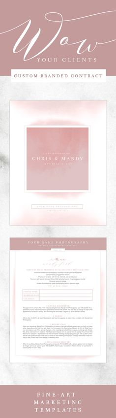 Wedding Photography Contract Watercolor Ombre Blush Branding - wedding contract