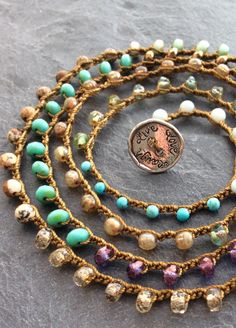 Colorful crochet wrap bracelet necklace beachy by Mollymoojewels