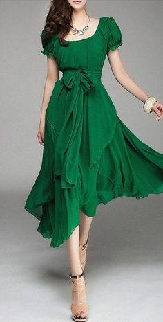 belted emerald dress