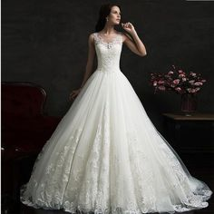 Strapless Lace Bridal Dress With Train..... Sweet Discount! Shop Now!