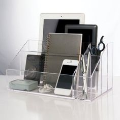 Acrylic Clear Desktop & Electronic Organizer Storage Holder Desk For your Office