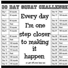 30 Day Squat Challenge - just finished this challenge. Wow. It wasn't easy to keep going but I hung in there and got great results, slimmer and stronger thighs! Just do it!!