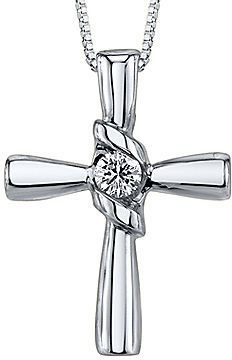 Sirena FINE JEWELRY 1/10 CT. Diamond 14K White Gold Cross Pendant Necklace on shopstyle.com