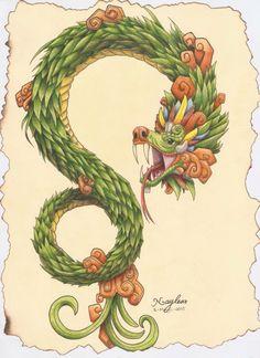 Mi mejor dibujo del 2014, hecho en México. La serpiente emplumada, Quetzalcoatl