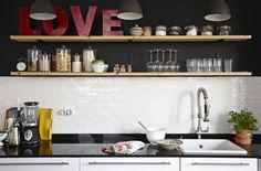Choose open shelves in a small kitchen, for easy access to cooking essentials and extra room to add decorative touches | #IKEAIDEAS #kitchendesign