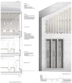 Preis: Details Fassade, © Bembé Dellinger - Farah's Secret World Architecture Design, Architecture Graphics, Architecture Drawings, Facade Design, Building Skin, Planer Layout, Brick Facade, Architectural Section, Brickwork