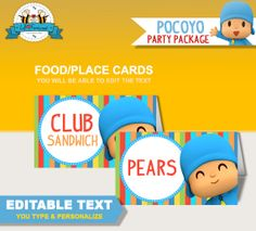 Editable Pocoyo and Friends Birthday Party by LilFacesPrintables, $4.95