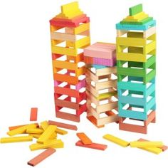 Farebné drevená hranoly Preschool Learning Toys, Wood Games, Mini Games, Jenga, Plank, Wooden Toys, Color Change, Tiles, Rainbow