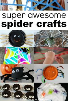 10 super awesome spider crafts and activities. Fun Halloween activities for kids! Fall Crafts For Toddlers, Halloween Crafts For Kids, Halloween Activities, Autumn Activities, Toddler Crafts, Preschool Crafts, Halloween Themes, Halloween Fun, Holiday Crafts