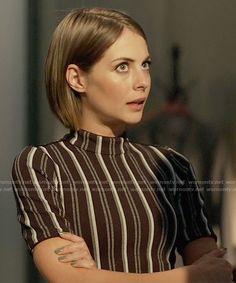 Thea's black striped mock-neck top on Arrow.  Outfit Details: https://wornontv.net/61579/ #Arrow