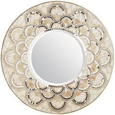 Pearl & Gold Round Mirror - Pier1 Imports $179.95 | Beautiful mirror framed in mirrored and capiz shell tiles that would brighten any room as a flower or sunburst.