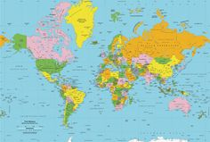 """Classic Colors World Political Map Wall Mural - Mercator Projection 13'10"""" width $653"""