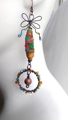 Boho earrings mixed media textile fiber Tyvek art door LePetitPrins