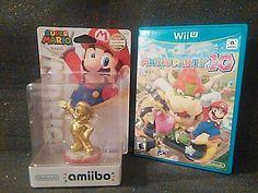 Nintendo WII U Golden Mario Amiibo (NEW) + Mario Party 10 (USED, BUT LIKE NEW)