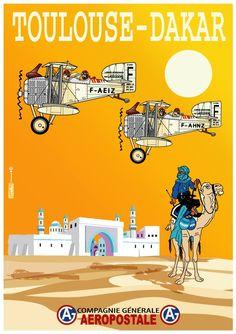 """Retour à l'époque des débuts de l'Aéropostale, sur """"la ligne des seigneurs"""" comme l'appelait Didier Daurat: ici la liaison Toulouse-Daka..."""