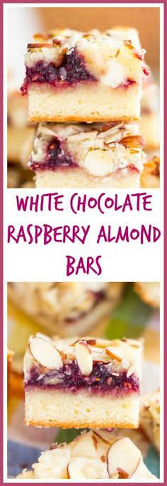 Raspberry White Chocolate Almond Bars – The Gold Lining Girl Layers of almond and white chocolate batter are filled with raspberry preserves, and more white chocolate! Topped with slivered almonds for a bit of crunch No Bake Desserts, Just Desserts, Delicious Desserts, Dessert Recipes, Baking Desserts, Bar Recipes, Fruit Recipes, Brownie Recipes, Cookie Recipes