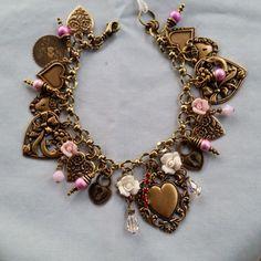$89.00  U.S. made brass!  Brass charm bracelet/heart/Swarovski by LeilaBeeDesigns on Etsy