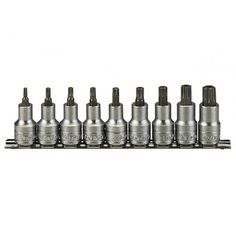 Teng Tools Sets consisting of 9 sockets for internal TX heads also for tamper proof screws). Sada TORX hlavica duté TPX 20 - 9 dielov, Teng Tools The sockets are supplied on a clip rail with socket clips. Satin Finish, Tool Set