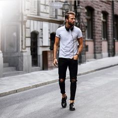 Casual Outfits, Men's Outfits, Fashion Outfits, Fasion, Fashion Trends, Urban Fashion, Daily Fashion, Urban Style, Denim Fashion