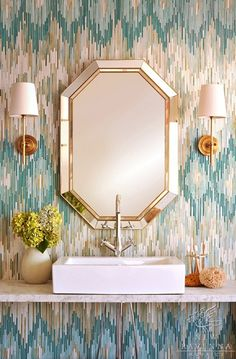 beautiful zigzag mosaic tiles in the bathroom